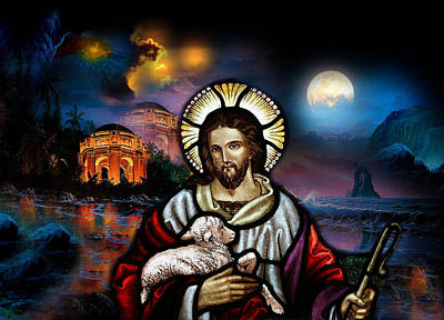 Poster featuring the digital art The Lord Is My Shepherd by Karen Showell