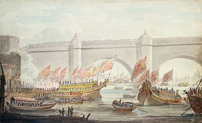 The Lord Mayor Landing At Westminster, With A View Of The Bridge, 1840 Wc On Paper Poster by English School