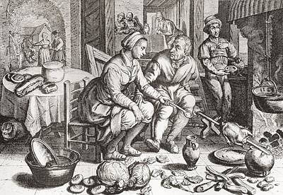 The Loving Couple, After A 15th Century Engraving By J. Matham. From Illustrierte Sittengeschichte Poster by Bridgeman Images