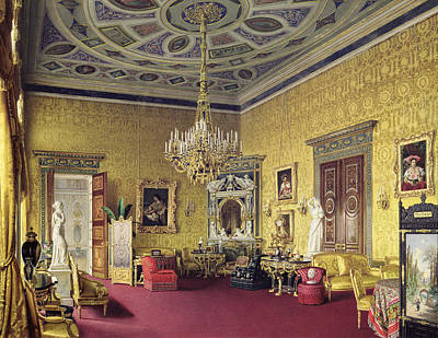 The Lyons Hall In The Catherine Palace At Tsarskoye Selo, 1859 Wc On Paper Poster by Luigi Premazzi
