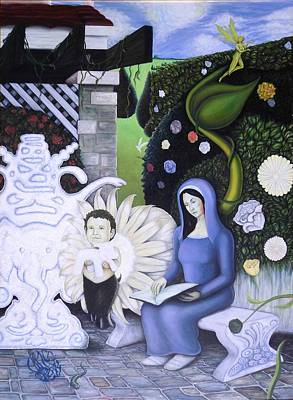 The Maiden And The Faun In The Garden Poster by Vince Plzak