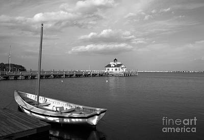 The Manteo Waterfront Bw Poster by Mel Steinhauer