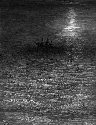 The Marooned Ship In A Moonlit Sea Poster