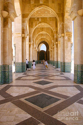 Poster featuring the photograph The Massive Colonnades At The Hassan II Mosque Sour Jdid Casablanca Morocco by Ralph A  Ledergerber-Photography
