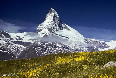 Poster featuring the photograph The Matterhorn With Alpine Meadow In Foreground by Jeff Goulden