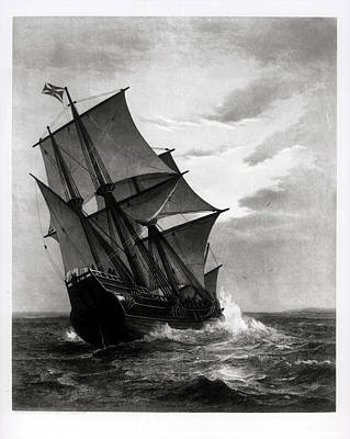 The Mayflower, Engraved And Pub. By John A. Lowell, Boston, 1905 Engraving Bw Photo Poster
