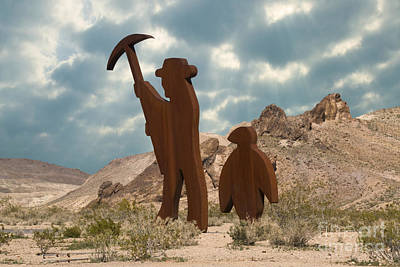 The Miner & Penguin In Rhyolite Ghost Poster by Ellen Thane