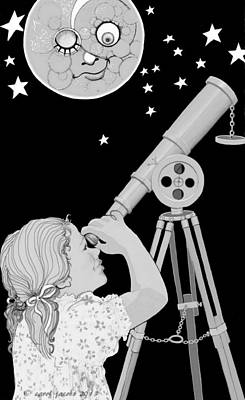 Poster featuring the digital art The Moon Looks Back by Carol Jacobs