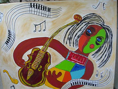 Poster featuring the painting The Music Practitioner by Sharyn Winters