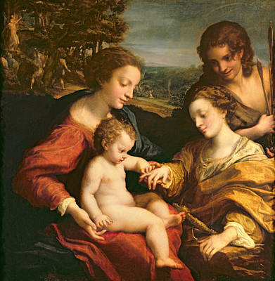 The Mystic Marriage Of St. Catherine Of Alexandria, C.1526-27 Oil On Panel Poster