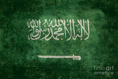 The National Flag Of  Kingdom Of Saudi Arabia  Vintage Version Poster by Bruce Stanfield