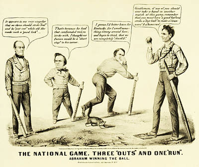 The National Game - Abraham Lincoln Plays Baseball Poster by Bill Cannon