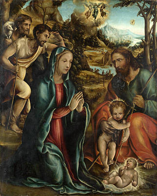 The Nativity With The Infant Baptist And Shepherds Poster by Follower of Sodoma