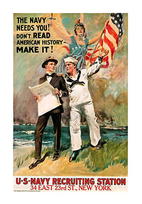 Poster featuring the mixed media The Navy Needs You by Presented By American Classic Art