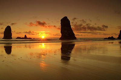 The Needles At Haystack - Cannon Beach Sunset  Poster