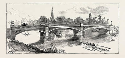 The New Bridge Bedford, Engraving 1884, Uk, Britain Poster by English School