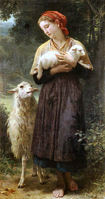The Newborn Lamb Poster by William Bouguereau