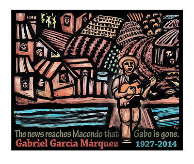 The News Reaches Macondo Poster by Ricardo Levins Morales