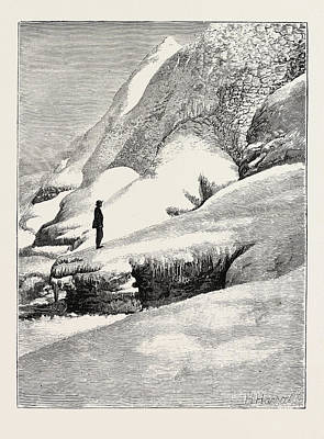 The Niagara Falls In Winter Time Ice Mounds In Front Poster by English School