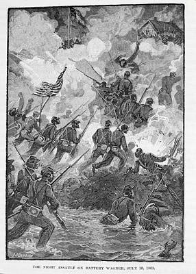 The Night Assault On Battery Wagner, July 18th 1863, Engraved By C. H. Reed, Illustration Poster by Julian Oliver Davidson