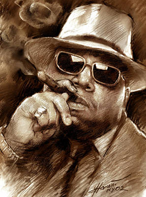 Poster featuring the drawing The Notorious B.i.g. by Viola El
