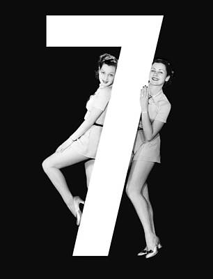 The Number 7 And Two Women Poster by Underwood Archives