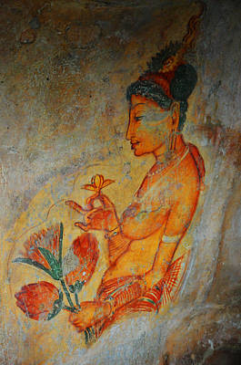 The Ode For The Women Beauty. Sigiriyan Lady With Flowers. Sigiriya. Sri Lanka Poster by Jenny Rainbow