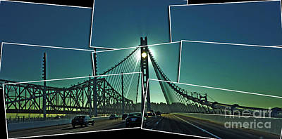 The Old And New Spans Of The Oakland Bay Bridge  Poster by Jim Fitzpatrick