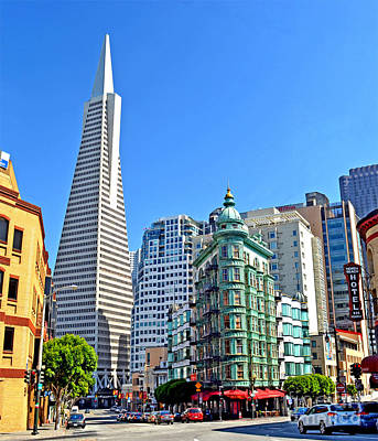 The Old And The New The Columbus Tower And The Transamerica Pyramid II Poster