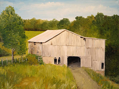 Poster featuring the painting The Old Barn by Alan Lakin