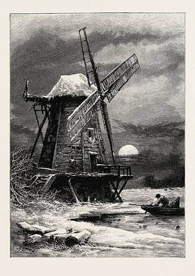The Old Hampton Windmill, Uk, Britain, British Poster by English School
