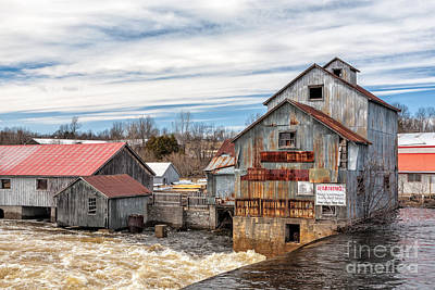The Old Mill And The Raging River Poster