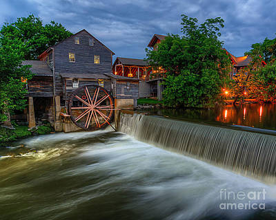 The Old Mill At Twilight Poster by Anthony Heflin