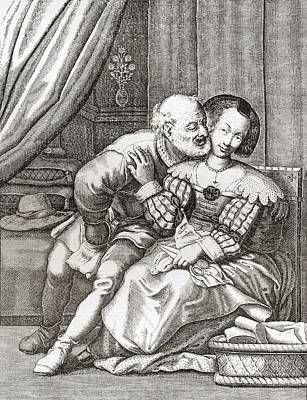 The Old Prurient, After A 16th Century French Engraving By Jaspar Isaac.   From Illustrierte Poster