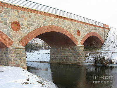 The Old Railway Bridge In Silute. Lithuania. Winter Poster