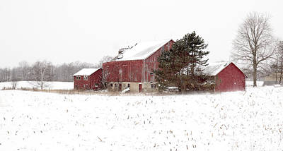 Poster featuring the photograph The Old Red Barn by Nick Mares