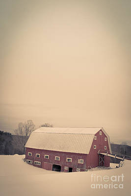 The Old Red Cow Barn In Winter Poster by Edward Fielding