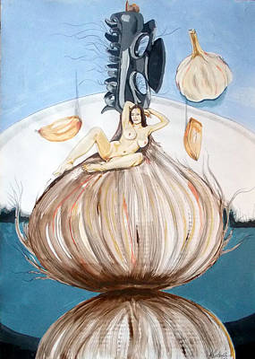 Poster featuring the painting The Onion Maiden And Her Hair La Doncella Cebolla Y Su Cabello by Lazaro Hurtado