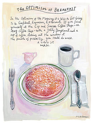 The Optimism Of Breakfast Poster by Maira Kalman