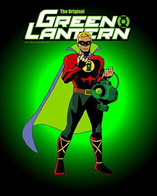 The Original Green Lantern Poster by Mista Perez Cartoon Art