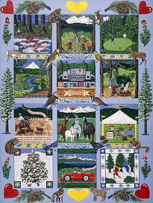 Poster featuring the painting The Outdoor Quilt by Jennifer Lake