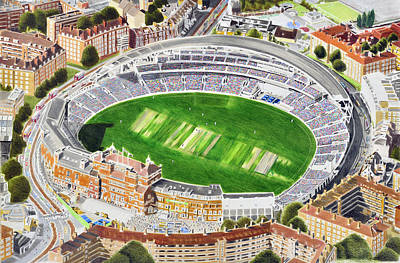 The Oval Cricket Stadia Art - Surrey Cricket Club And England Poster by Brian Casey