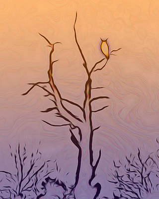 The Owl Digital Art Poster by Ernie Echols
