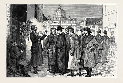 The Papal Jubilee At Rome, Pilgrims Buying Rosaries Poster by English School