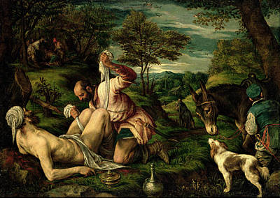 The Parable Of The Good Samaritan Poster by Francesco Bassano