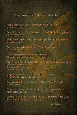 The Paradoxical Commandments Poster by Maria Angelica Maira
