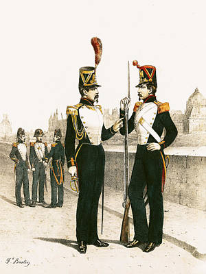 The Parisian Municipale Guard, Formed 29th July 1830 Coloured Engraving Poster by French School