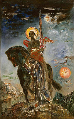 The Park And The Angel Of Death Poster by Gustave Moreau