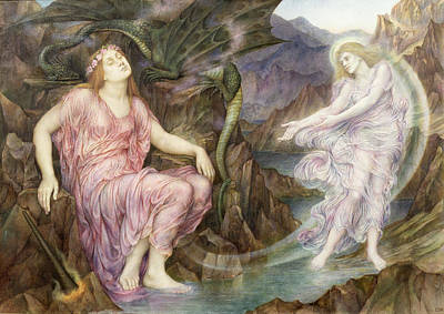 The Passing Of The Soul At Death Poster by Evelyn De Morgan