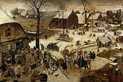 The Payment Of The Tithe Or The Census At Bethlehem Oil On Panel For Detail See 89722 Poster by Pieter the Younger Brueghel